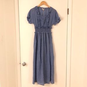 New Max Studio Blue Ruffle Dress
